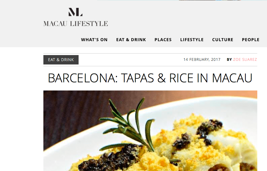BarCelona Featured at Macau Lifestyle